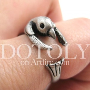 Miniature Hummingbird Bird Animal Wrap Ring in Silver - Sizes 4 to 9