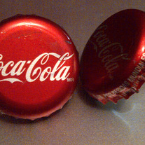 Coca Cola Recycled Vintage Bottle Cap Push-Pins: Set of 2
