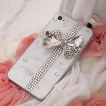Bling Crystal Sparkle White Gift Box Bow Clear iPhone 4/4S Case (#682)