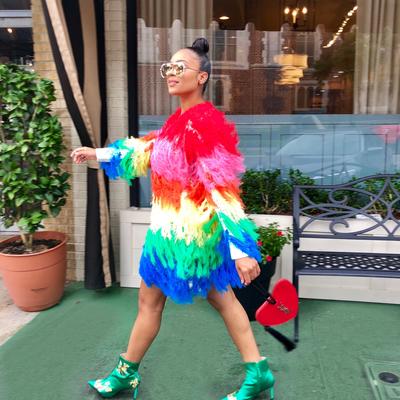 Rainbow feels shaggy sweater