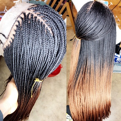 Ombré small handmade box braid wig