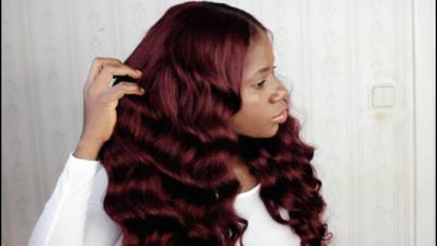 Burgundy Human Hair Frontal wig ( Handmade)