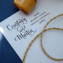 Custom Calligraphy Address Stamp -- Side by Side Calligraphy and Type -- VINTAGE RESERVE Style