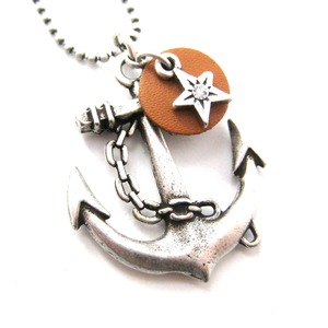 Nautical Anchor and Star Pendant Necklace in Silver