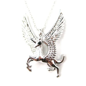 Pegasus Unicorn Shaped Animal Pendant Necklace in Silver with Wings