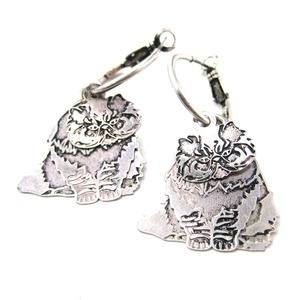 Persian Kitty Cat Shaped Three Part Dangle Earrings in Silver