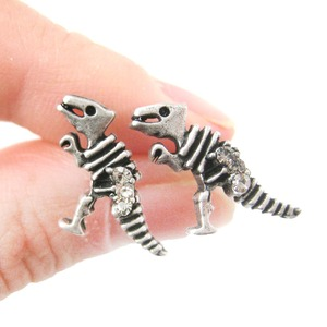 Dinosaur Skeleton Fossil Shaped Stud Earrings in Silver