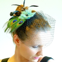 Peacock Bridal Fascinator with Green Organza Flower  - Thumbnail 2