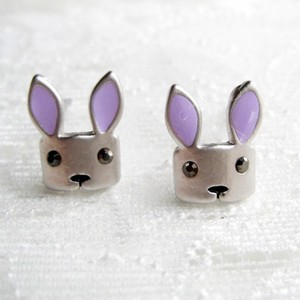 Stainless Steel Bunny Animal Stud Earrings with Purple Ears