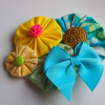 Teal and yellow fabric cluster