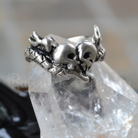 Soul Mates Memento Mori Ring Solid Sterling Silver Ring Snake Skulls and Heart with wings - Thumbnail 1