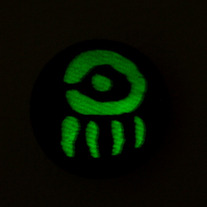 "GLOW IN THE DARK ""Doll Eye"" Screen Printed Hemp Button! 1.5"""