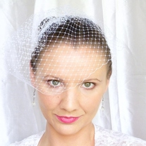 White Birdcage Veil 9 inches - Thumbnail 2