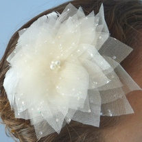 Ivory Flower Bridal Veil Fascinator with Swarovski Crystals and Marabou Feathers  - Thumbnail 4