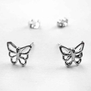 Small Butterfly Cut Out Stud Earrings in Silver