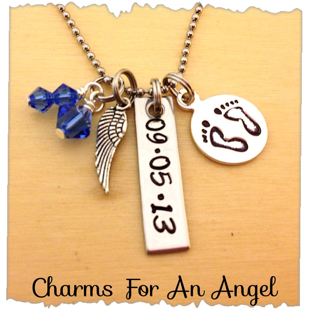 In Memory Necklace My Angel Swarovski Crystal Birthstone Charms ...