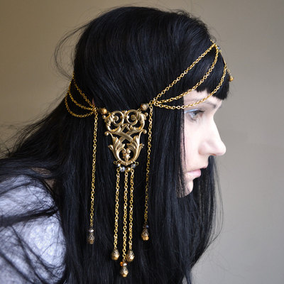 Ambergris art nouveau goddess chain headpiece head chain headdress