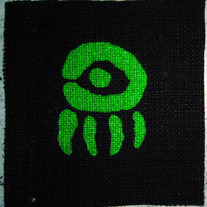 "GLOW IN THE DARK ""Doll Eye"" Screen Printed Hemp Patch"