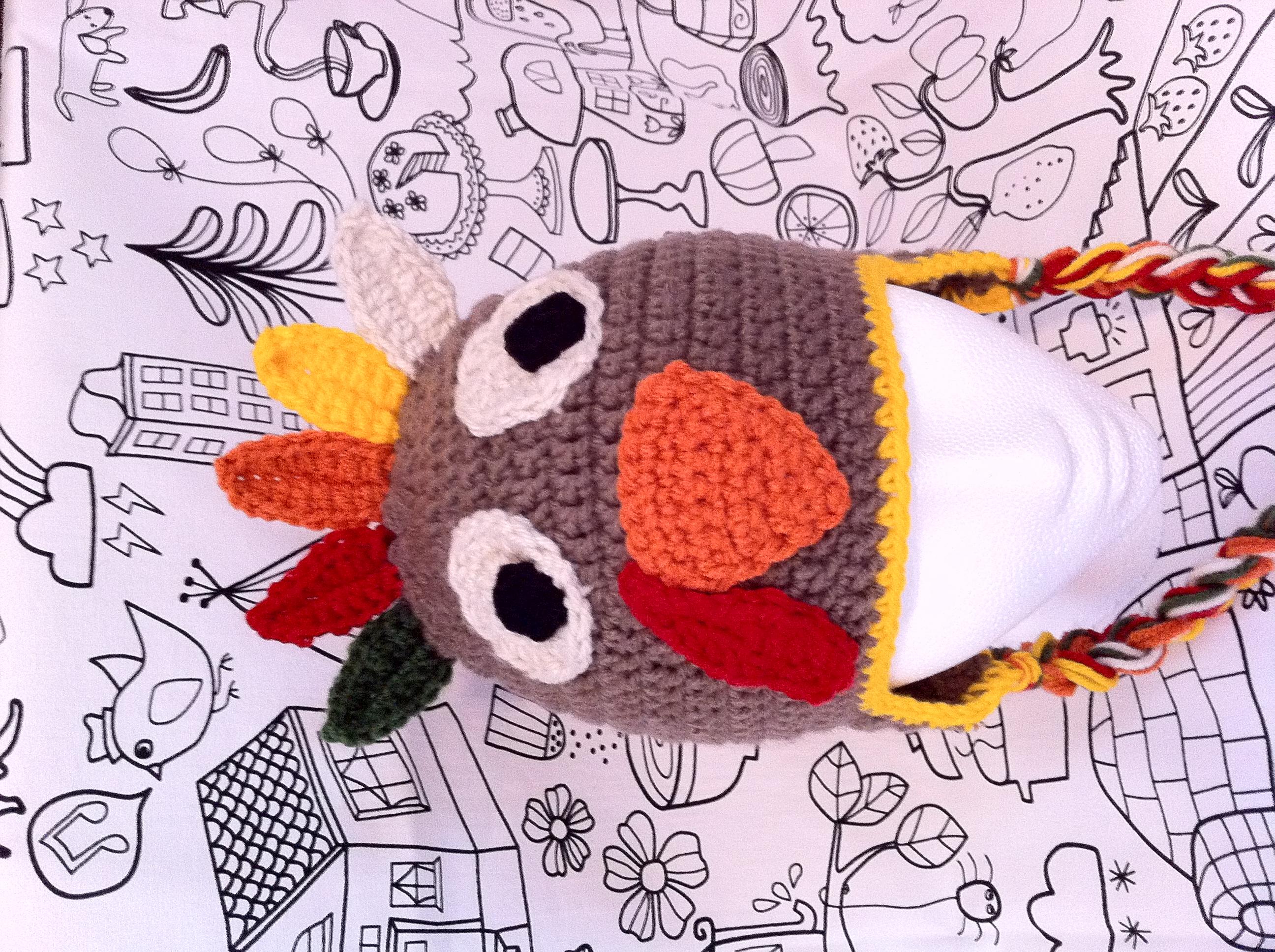 Crochet turkey hat sizes newborn toddler gobble gobble crochet long