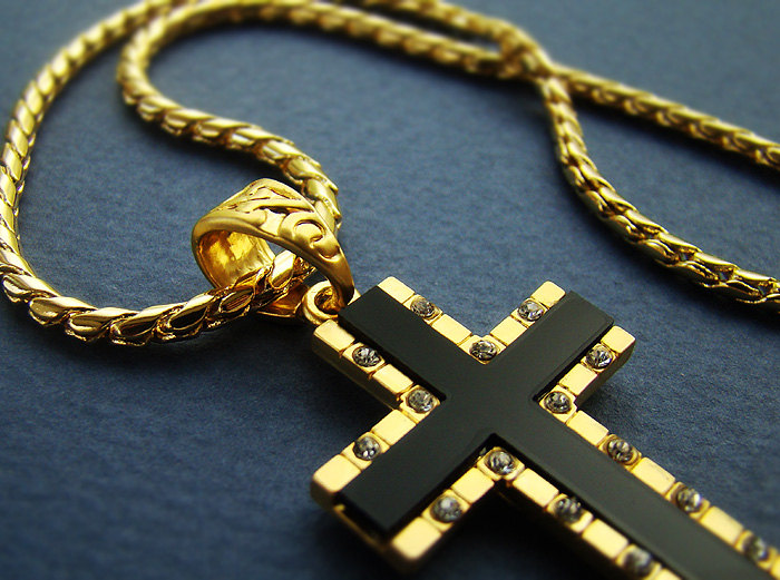 157 cross pendant w 28 chain 18k gold nano injection plated mens 157quot cross pendant w 28quot chain 18k gold nano injection plated mens onyx cross aloadofball Images