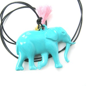 Colorful Elephant Large Statement Animal Pendant Necklace in Mint Blue