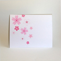 single sakura folded notecard