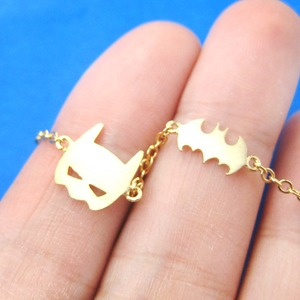 Classic Batman Bat Logo and Bat Mask Shaped Charm Bracelet in Gold