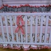 Floral pink and green crib bedding