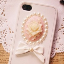 iphone 4G Design #353, New Bling Crystal Sparkle Pink Rose With Pearls And Bow iPhone 4/4S Case
