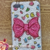 New Bling Crystal Sparkle Pink Rhinestones Bow Colorful Dots iPhone 4/4S Case