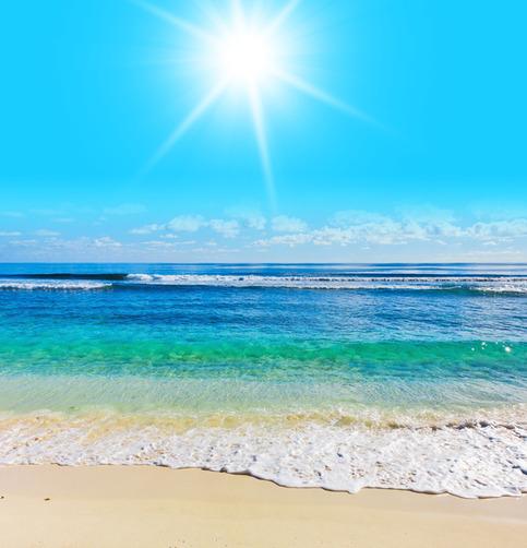 Wall STICKER MURAL beach scene sea ocean water summer sun rays light ...