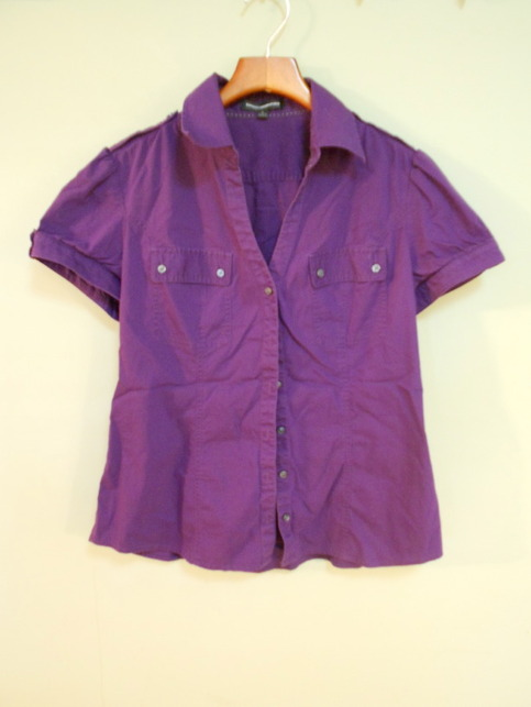 Purple Express Short-Sleeved, Button-Up, Two Pocket Shirt - Size Large