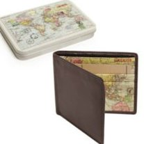 Travel Map Leather Wallet