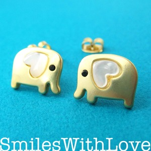 Small Elephant Earrings in Gold with Pearl Heart Detail - ALLERGY FREE