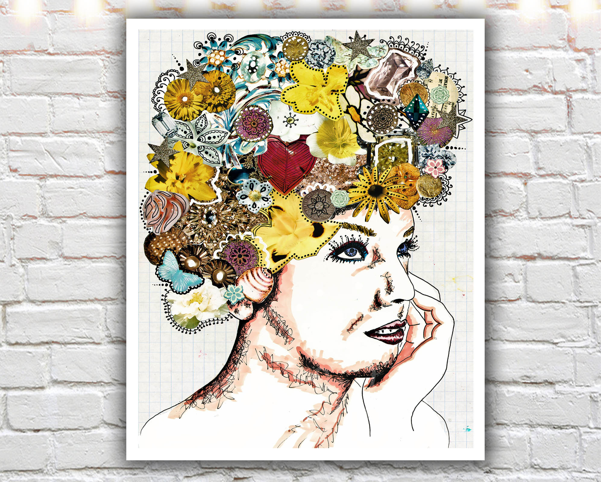 Awesome Be Fabulous   16 X 20 Paper Print, Fashion Illustration, Flowers, Headdress, Part 18