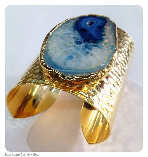 Blue Agate Cuff Bracelet 24K Gold Plated · BEADSHINES
