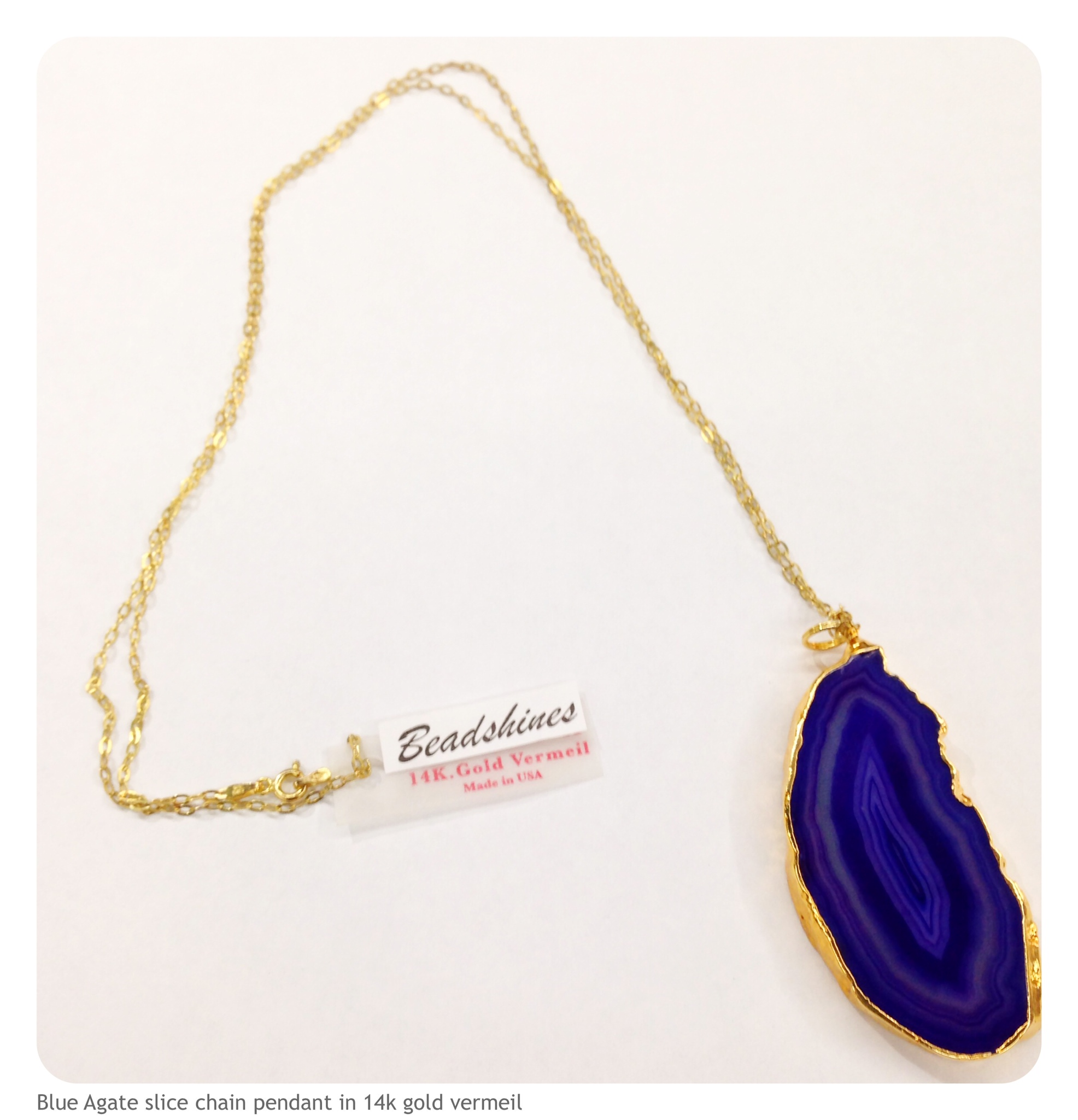 Blue agate slice 14k gold vermeil chain beadshines for Fashion jewelry district los angeles
