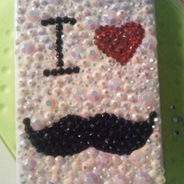 New Bling Crystal Sparkle I Love Beard w/Rhinestones iPhone 4/4S Case
