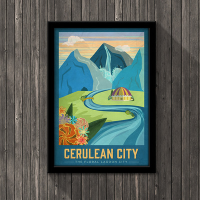Pokemon travel poster - cerulean city