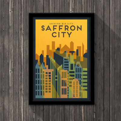 Pokemon travel poster - saffron city