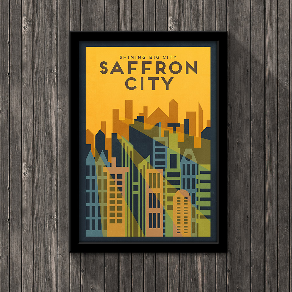 Pokemon Travel Poster - Saffron City · Little Pixel Posters ...