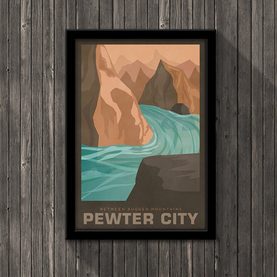 Pokemon travel poster - pewter city