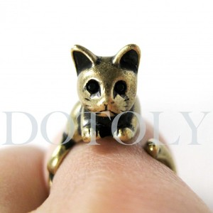Miniature Kitty Cat Ring in Bronze Sizes 5 to 9 available