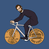 Abraham Lincoln on bike with penny wheels, 5x5 print