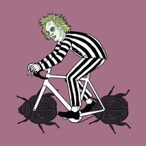 Beetlejuice on bike with beetle wheels, 5x5 print