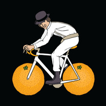 Alex from Clockwork Orange on bike with orange wheels, 5x5 print