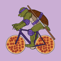 Donatello on bike with pizza wheels, 5x5 print