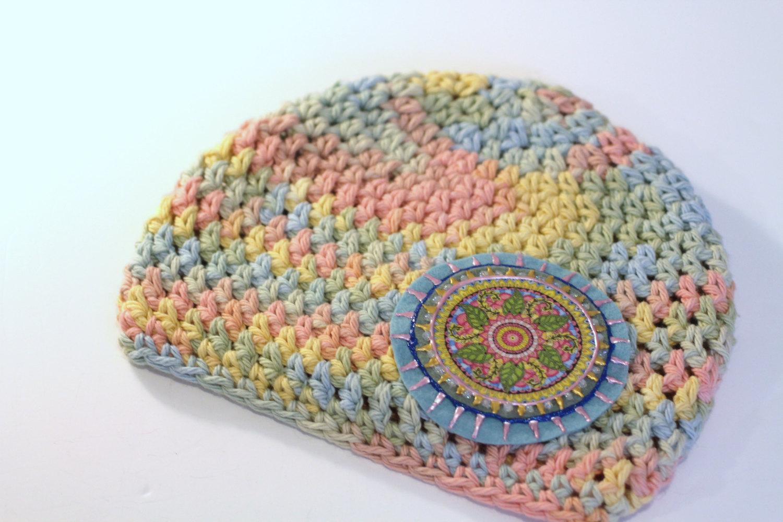 Pastel Girls Hat Cotton Crochet Hat Baby Beanie Aqua