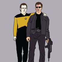 Terminator and Data best friends, 5x7 print