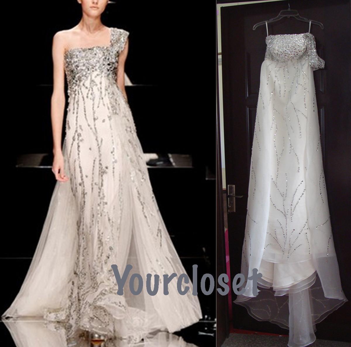 Chiffon handmade sweep train sleeveless formal dress wedding dresses